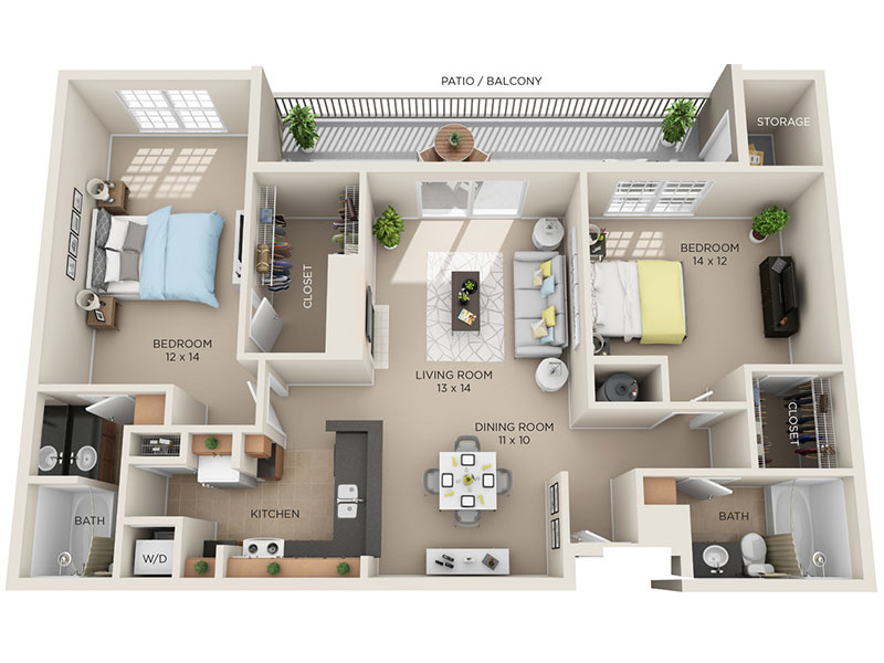 two bed two bath C2p floorplan