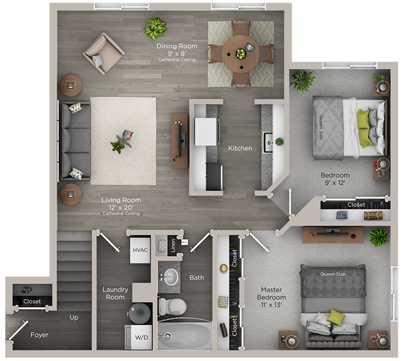 two bed one bath B floor plan