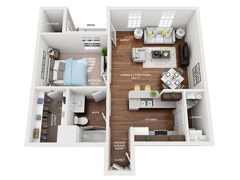 one bed one bath Ironwood floorplan
