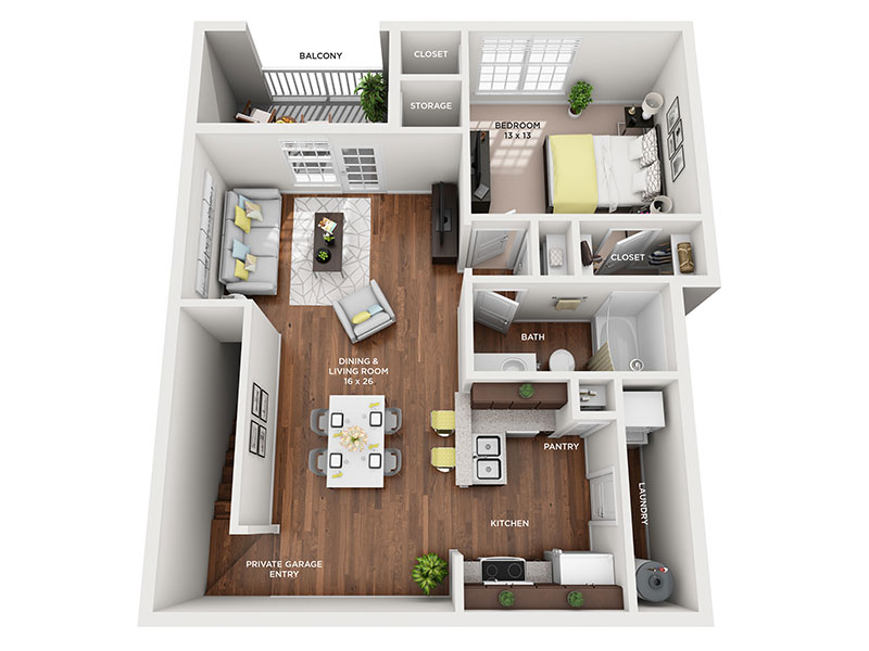 one bed one bath Marquette floorplan