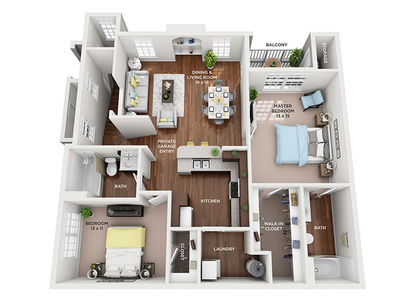 two bed two bath Manistee floorplan