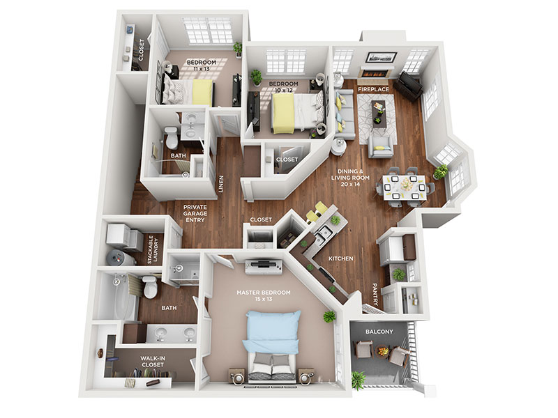 three bed two bath Mackinaw floorplan