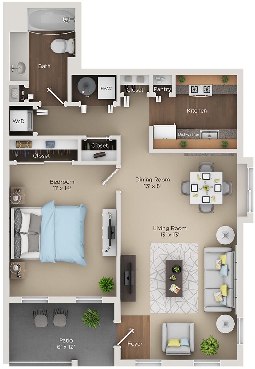 one bed one bath A floorplan