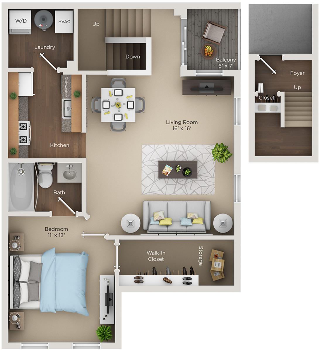 one bed one bath A1 floorplan