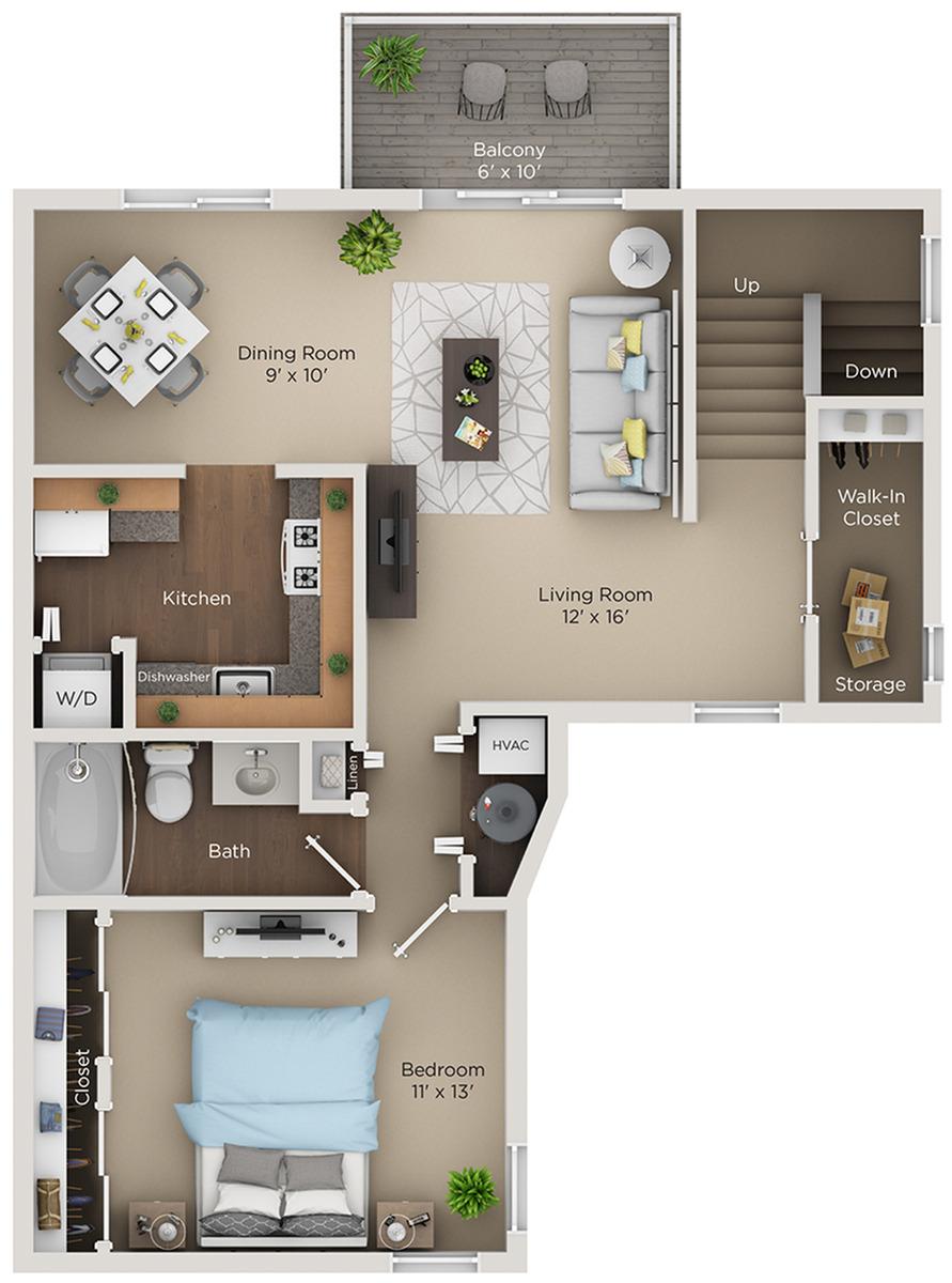 one bed one bath A2 floorplan