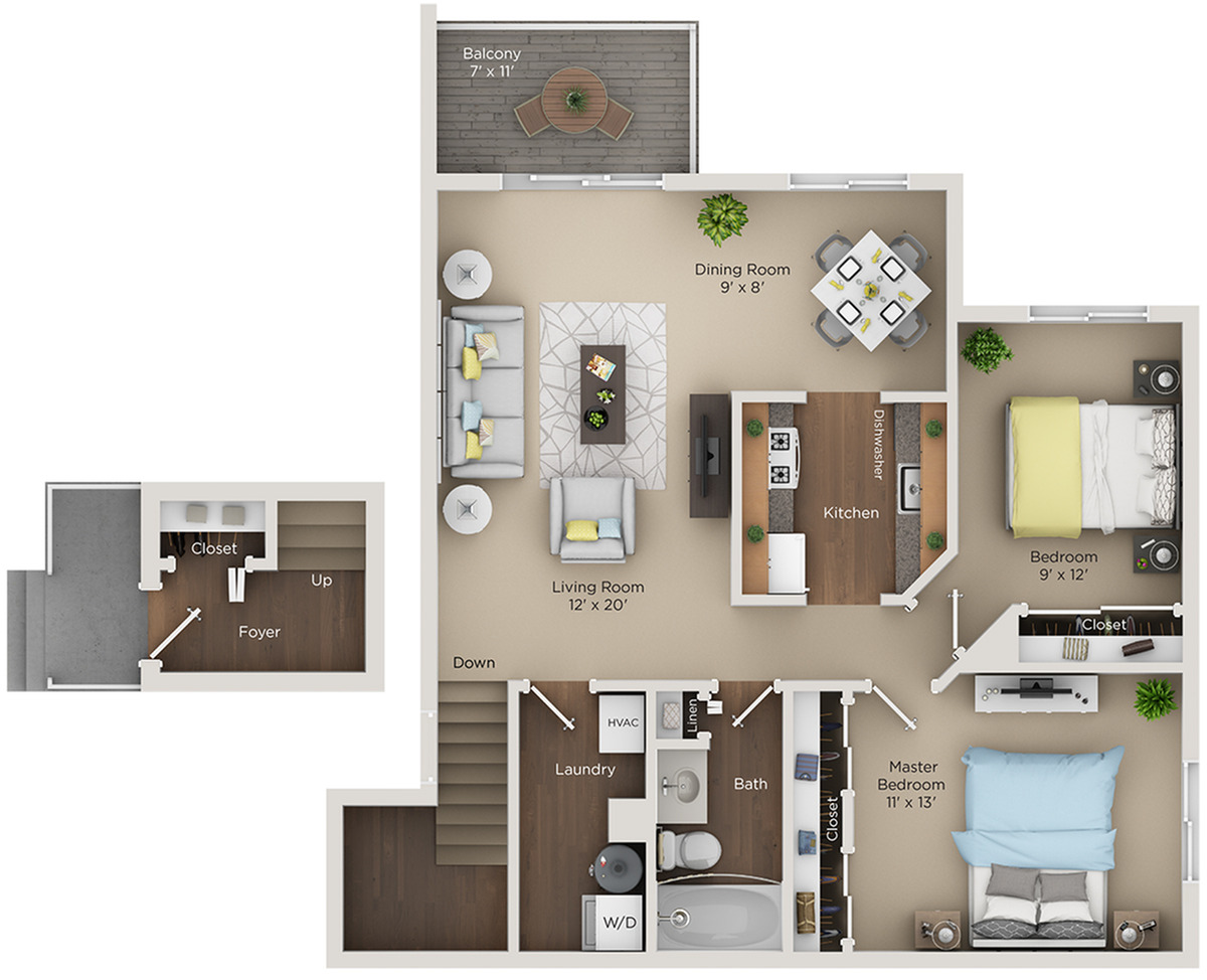 two bed one bath B1 floorplan