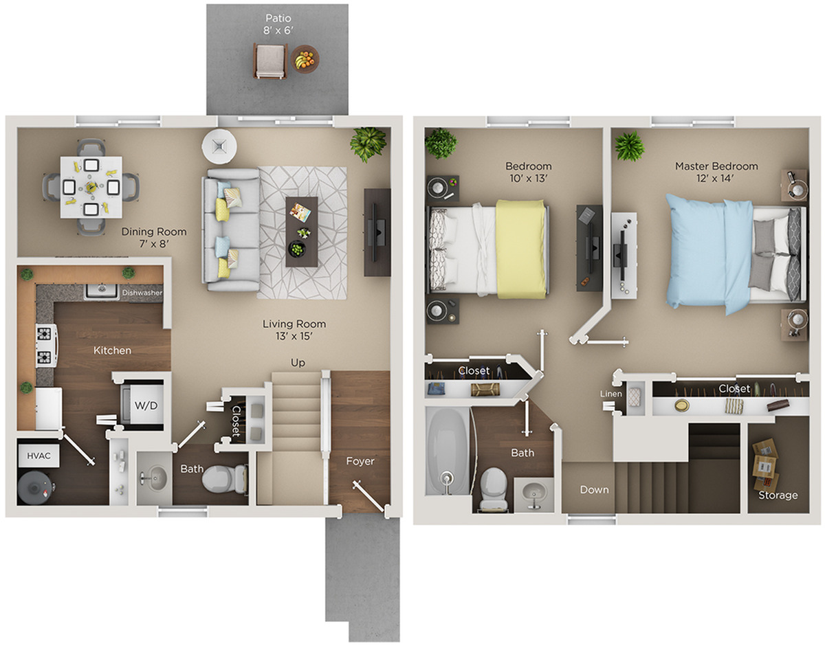 two bed one and half bath C floorplan