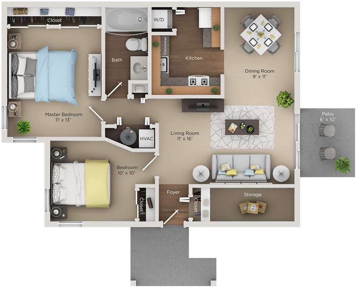 two bed one bath B2 floorplan