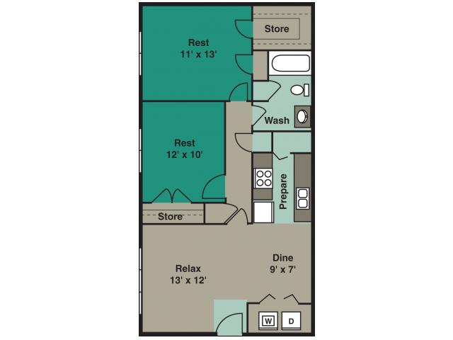 2 Bedroom 1Bath