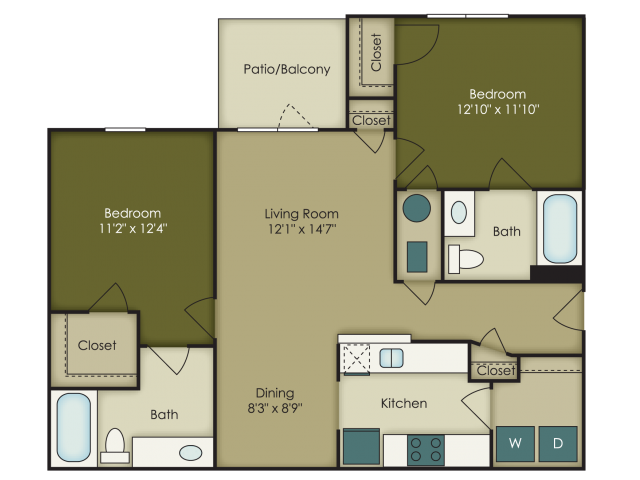 2 Bedroom Floor Plan at Brook Creek Crossing Apartments