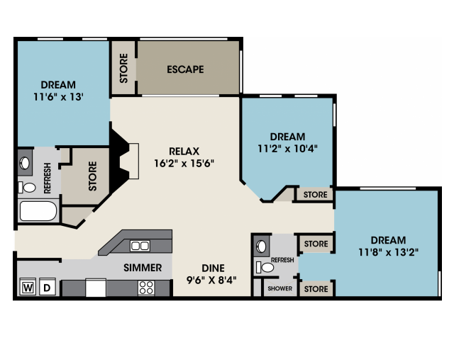 3 bedroom apartment in North Raleigh