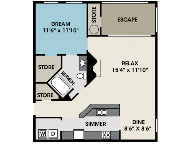 Apartment Floor Plan in North Raleigh