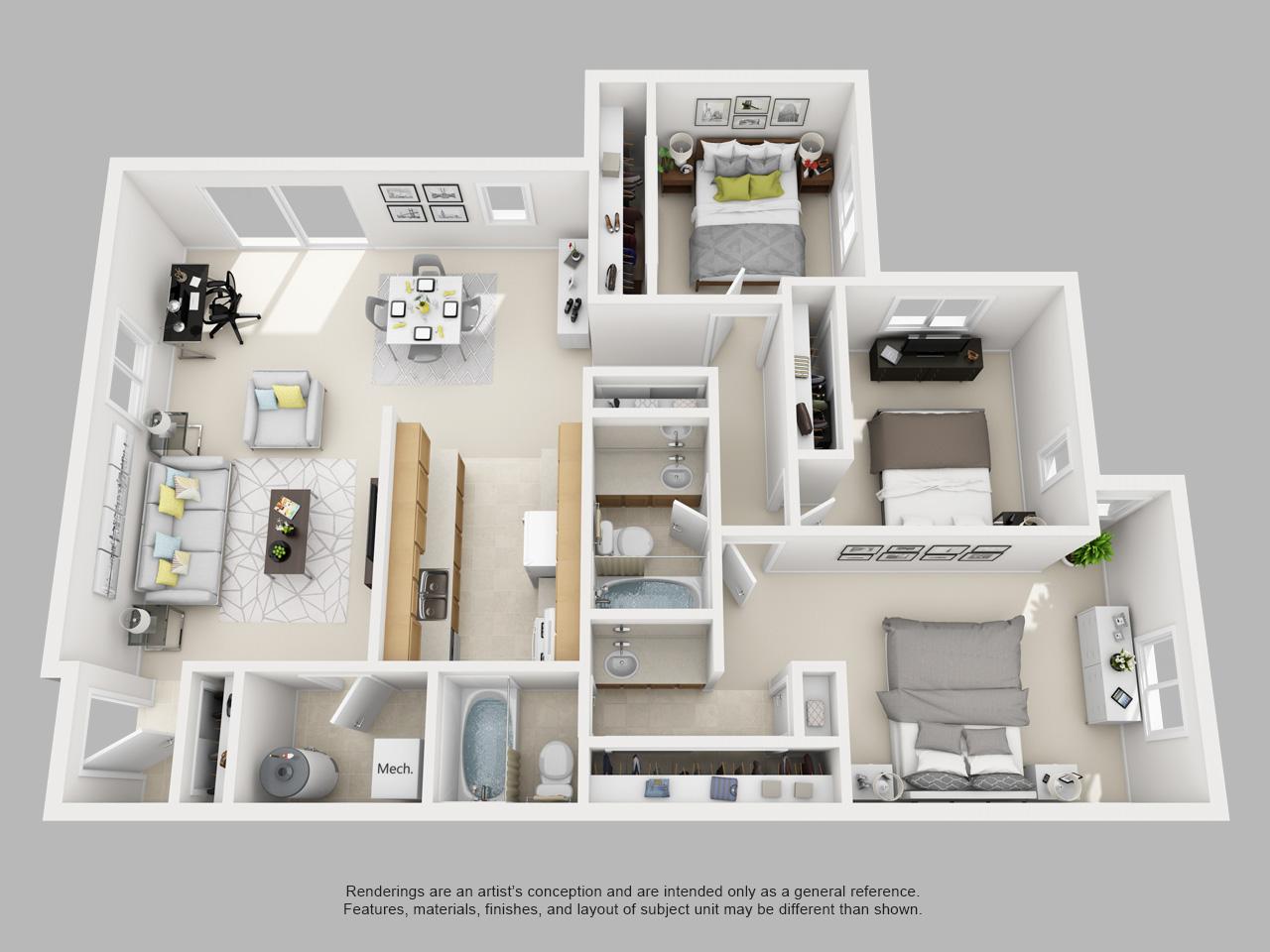 3 Bedroom at Four Seasons Yorktown Apartments