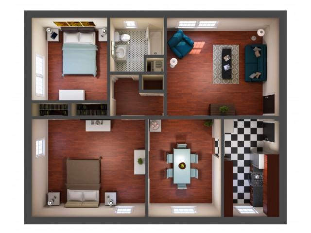 Kensington 2 bedroom floorplan in Richmond VA