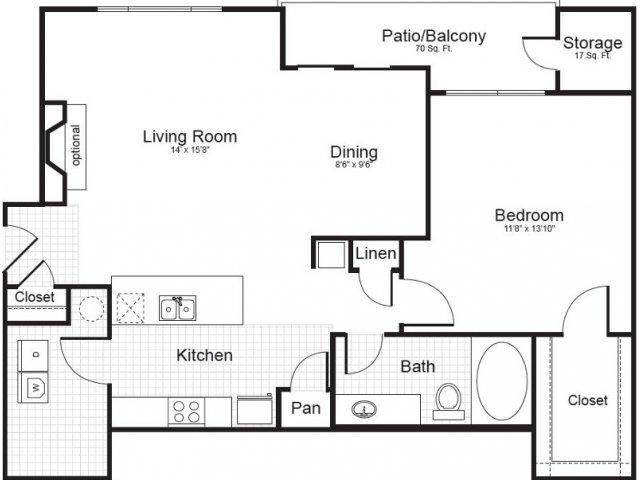 1 Bed / 1 Bath Apartment in Charlotte NC | Addison Park