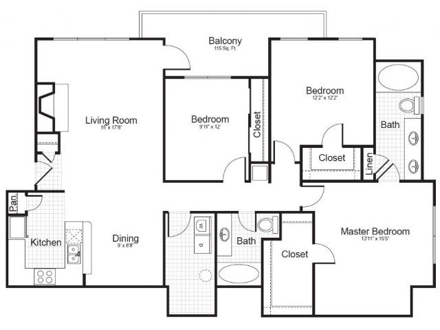 3 Bedroom Floor Plan | Addison Park 3