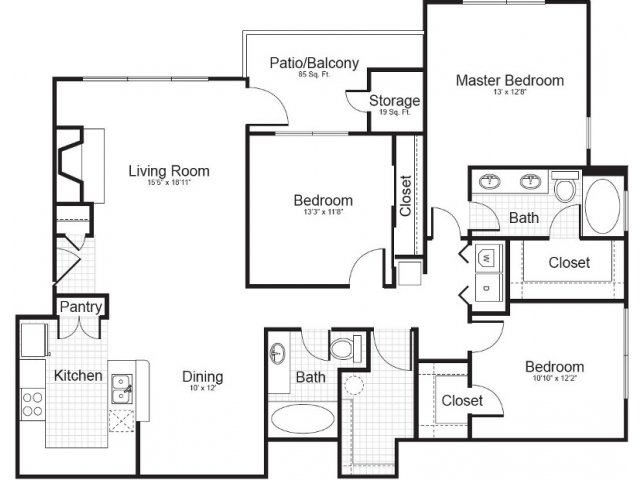 3 Bedroom Floor Plan | Addison Park 4