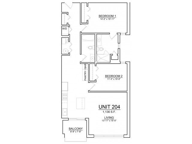 Floor Plan 5 | Apartments In Chicago | The Aberdeen West Loop
