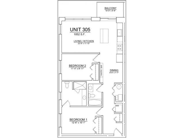 Floor Plan 43   Apartments In Chicago   The Aberdeen West Loop