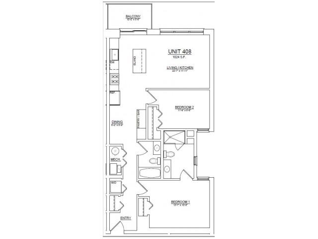 Floor Plan 54   Apartments In Chicago   The Aberdeen West Loop