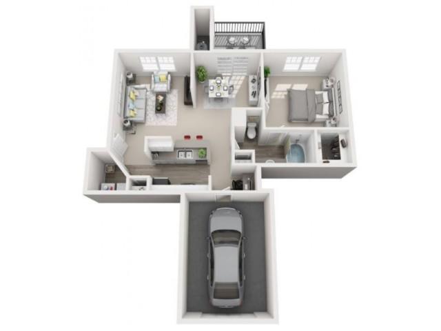 1 Bedroom Floor Plan | Luxury Apartments Centennial Colorado | Greenwood Plaza