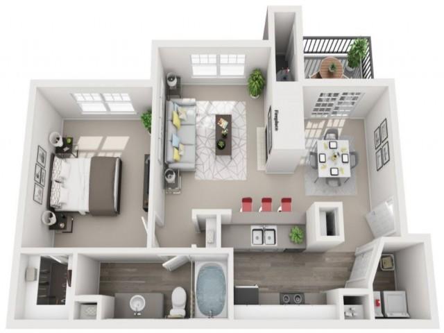 1 Bdrm Floor Plan | Centennial Colorado Apartments | Greenwood Plaza