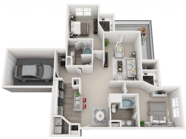 2 Bdrm Floor Plan | Centennial Colorado Luxury Apartments| Greenwood Plaza