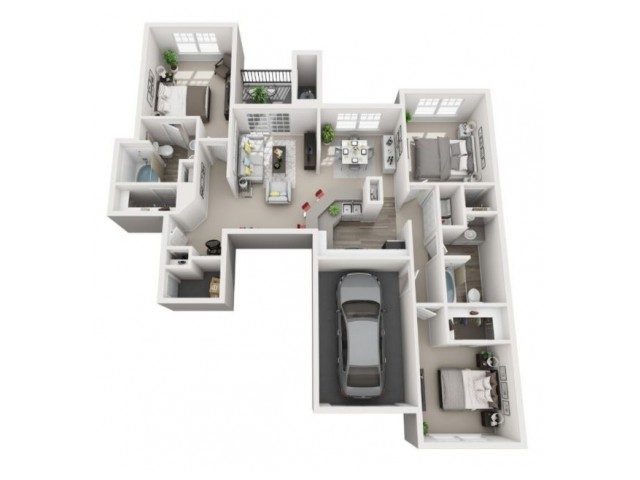 3 Bedroom Floor Plan | Apartments for rent centennial colorado | Greenwood Plaza
