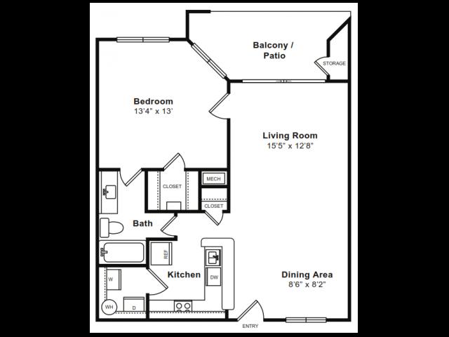 1 Bedroom Floor Plan | Luxury Apartments In Arlington VA | The Citizen at Shirlington Village