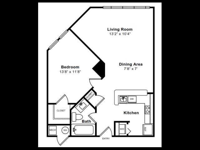 1 Bdrm Floor Plan | Arlington Apartments | The Citizen at Shirlington Village