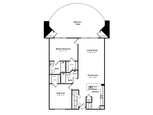 Floor Plan 2 | Arlington Apartments | The Citizen at Shirlington Village