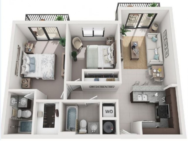 2 Bedroom Floorplan | Soleste West Gables 3