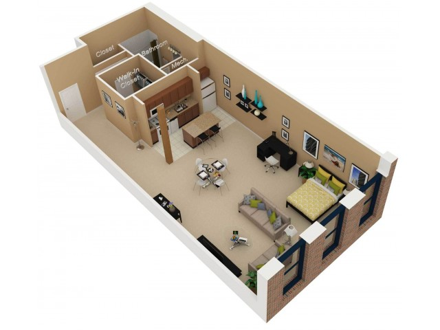 Floor Plan 2   One Bedroom Apartments For Rent In Chicago   Cobbler Square Lofts