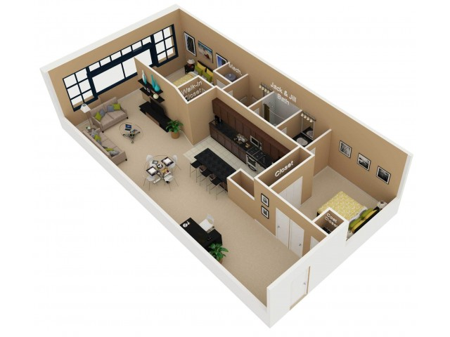 Floor Plan 7   One Bedroom Apartments For Rent In Chicago   Cobbler Square Lofts
