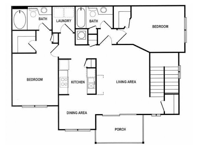 2 Bedroom Floor Plan | Spotswood Commons