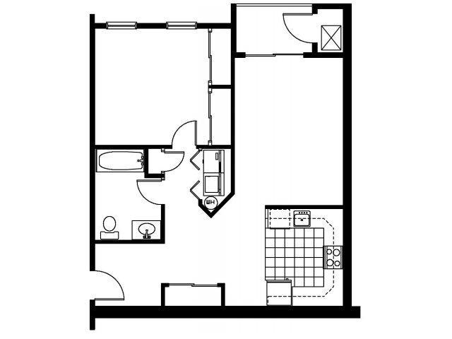1 Bedroom Floor Plan | Abbott Landing