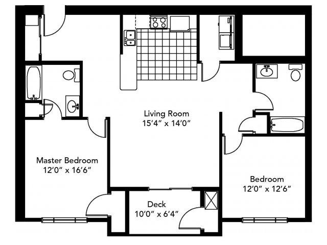 2 Bedroom Floor Plan | Abbott Landing