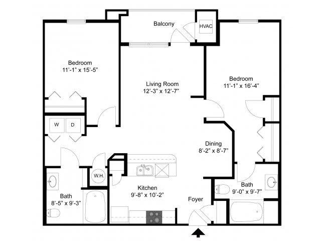 2 Bedroom Floor Plan | Alexander at Patroon Creek