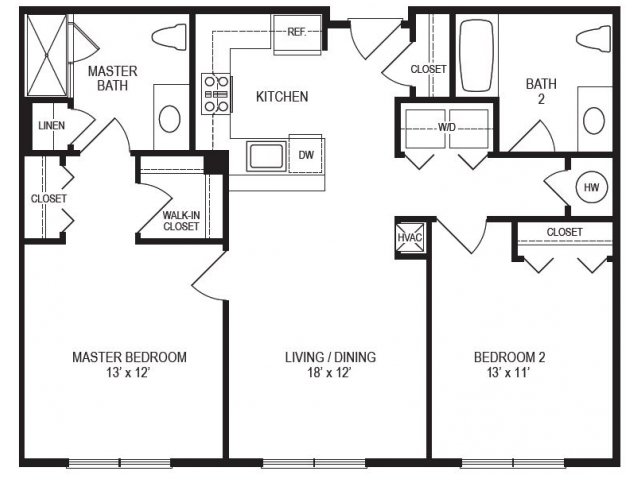2 Bedroom Floor Plan | Rumney Flats