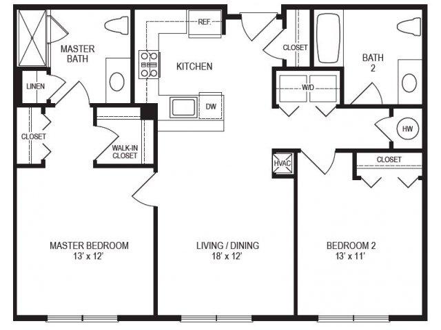 2 Bedroom Floor Plan | Rumney Flats