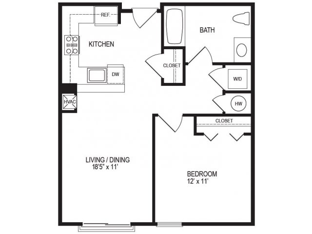 1 Bedroom Floor Plan | Rumney Flats 3