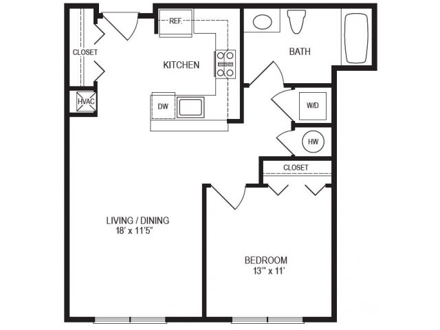 1 Bedroom Floor Plan | Rumney Flats 5