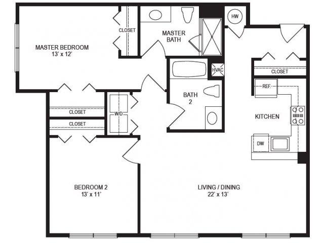 2 Bedroom Floor Plan | Rumney Flats 2