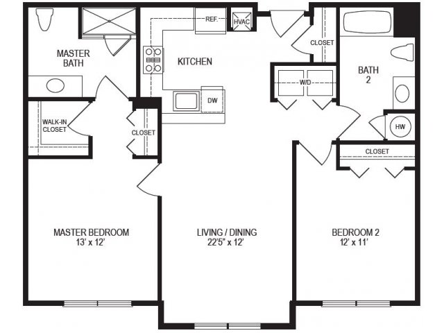 2 Bedroom Floor Plan | Rumney Flats 3