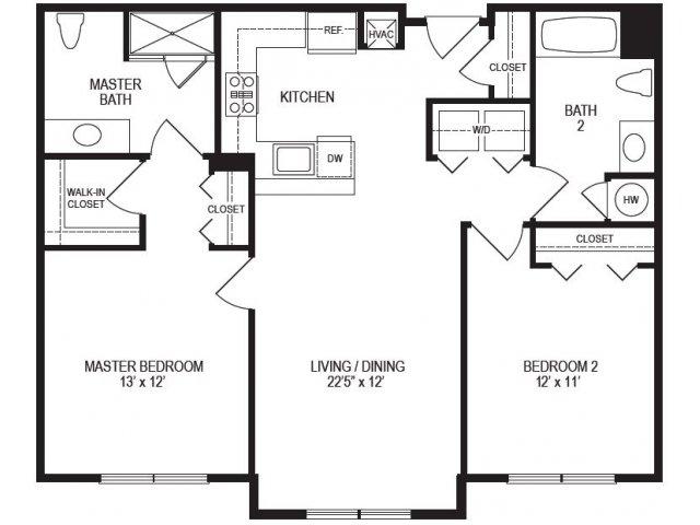 2 Bedroom Floor Plan | Rumney Flats 3