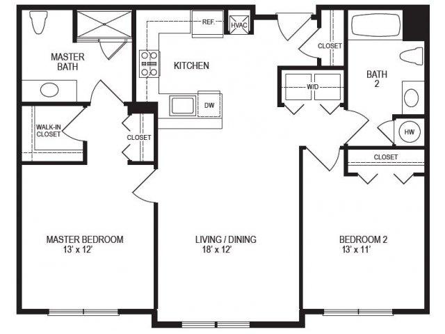 2 Bedroom Floor Plan | Rumney Flats 4