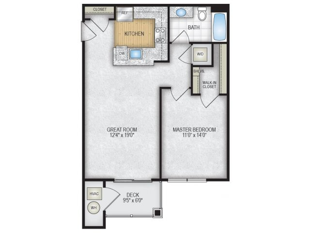 1 Bedroom Floor Plan | The Park at Winter\'s Run