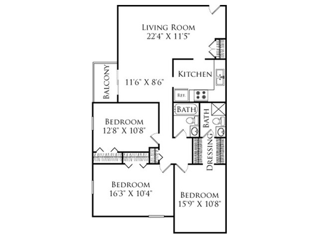 3 Bedroom Floor Plan | Fall River Apartments for rent | South Winds