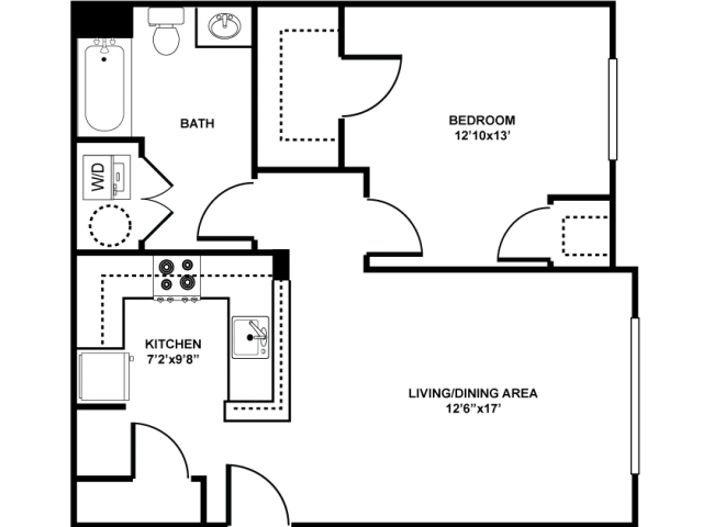 1 Bdrm Floor Plan | Apartments For Rent In Franklin MA | Union Place Apartments