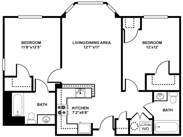 2 Bedroom Floor Plan | Apartments In Franklin MA | Union Place Apartments